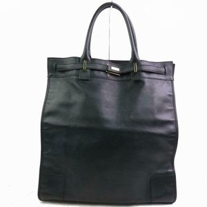 Auth Gucci Black Leather Tote Bag #1042G16